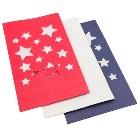 4th of July Red, White, Blue Star Paper Luminary Bags Path Lighting - Paper Luminaries