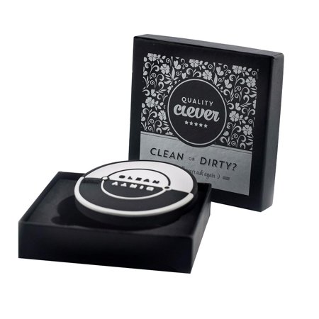 Quality Clever Magnetic Dishwasher Clean / Dirty Sign With Built in Bottle Opener, 2.75 Inches, Works on All Dishwashers, Rubber Coating Prevents Scratches, Black & White to Match Any Décor ()