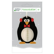 Holiday Time Honeycomb Gift Tags, Penguin, 4-Pack