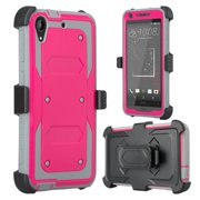 HTC Desire 530 Case, Triple Protection [Built in Screen Protector] Heavy Duty Rotating Swivel Holster Shell Combo Case for Desire 530 - Hot Pink