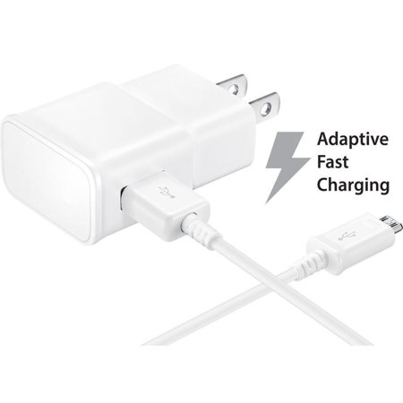 Adaptive Fast Charger Kit Compatible with Samsung Galaxy Express 3 Devices-[Wall Charger+5 FT Micro USB Cable]-AFC uses Dual voltages for up to 50% Faster Charging!-White - image 6 of 9