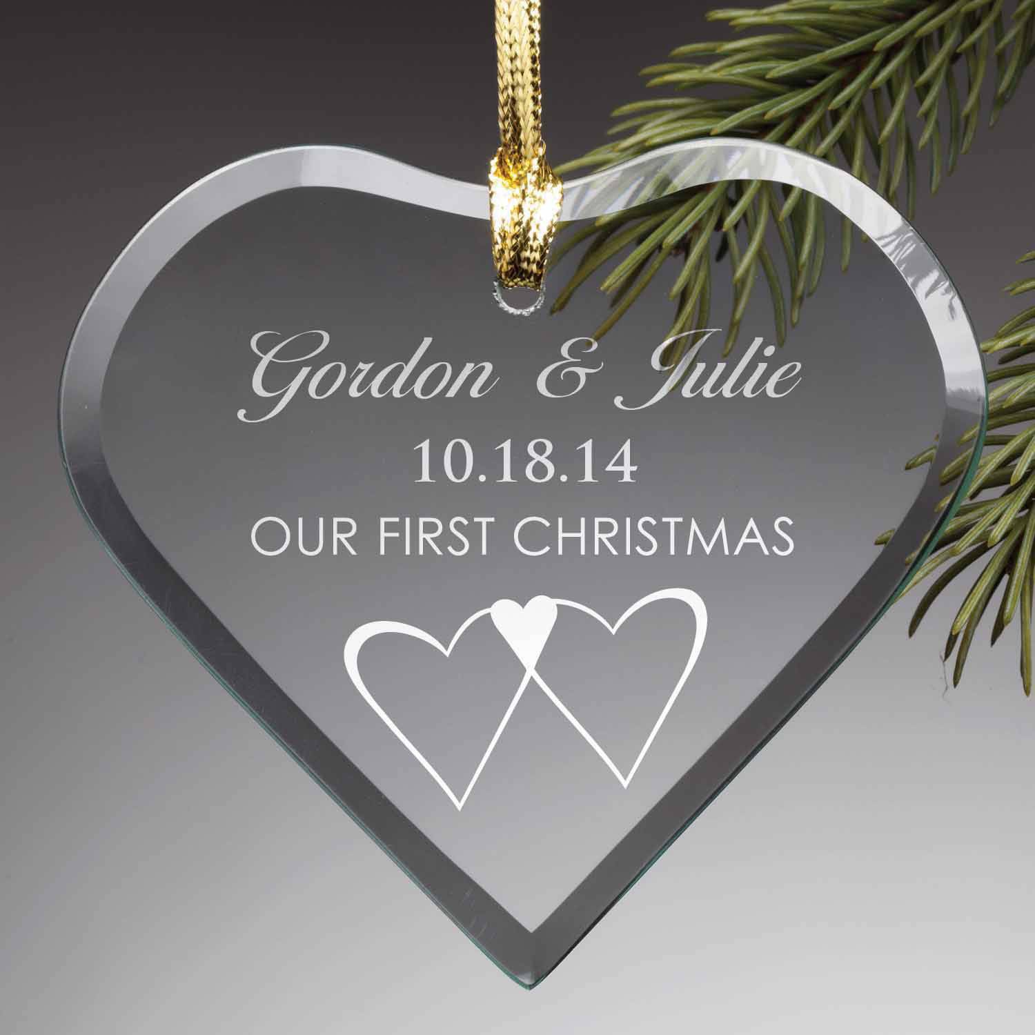 Personalized Christmas Glass Ornament - Our First