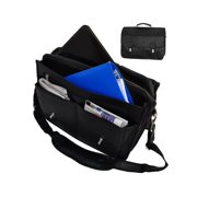 Leather Laptop Messenger bag, Briefcase, Crossover 17 inch Shoulder Bag - Black
