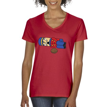 89c1ef10d Trendy USA - Trendy USA 801 - Women's V-Neck T-Shirt Tchaikovsky Nutcracker  Nuts Christmas Funny XL Red - Walmart.com