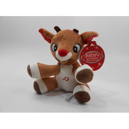 Rudolph, The Red-Nosed Reindeer, MUSICAL 5 inch (12.7 cm) Plush - Red Nose Reindeer Plush