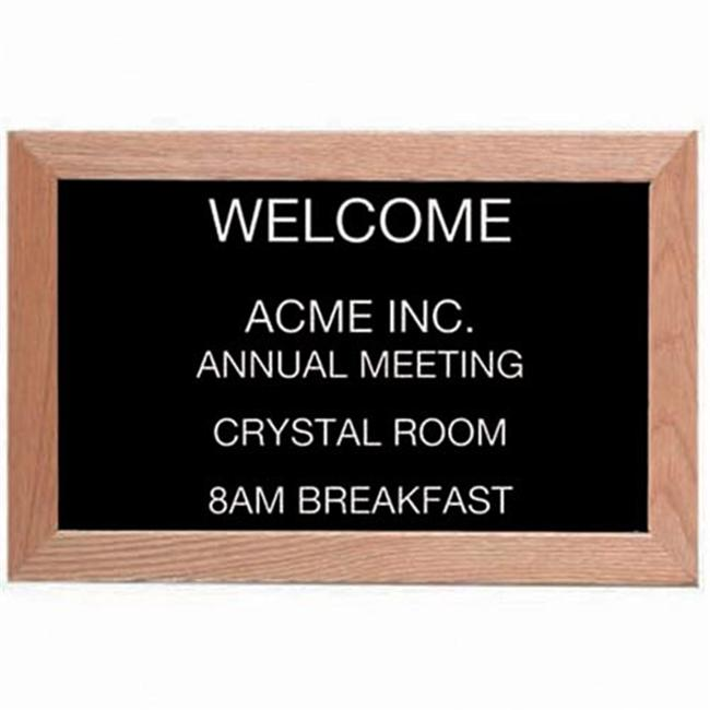Aarco Products AOFD1218 Framed Letter Board Message Center - Red Oak