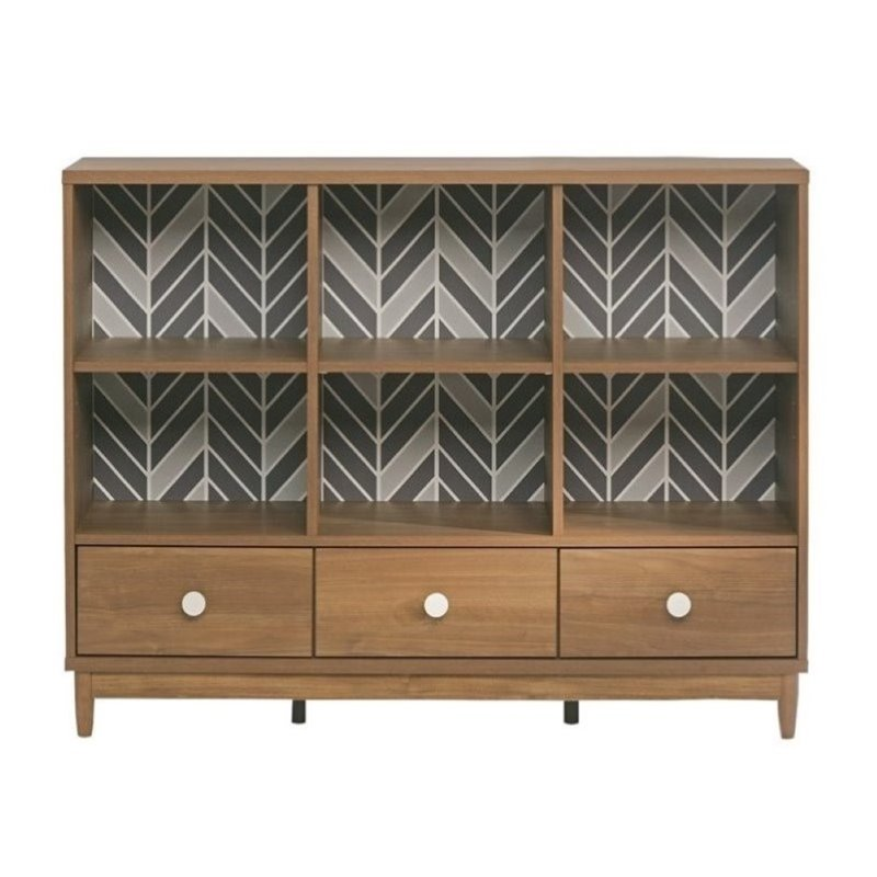 Pemberly Row 6 Cubby Bookcase in Fine Walnut