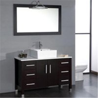Cambridge Plumbing 48 inch Wood & Porcelain Vessel Vanity Set with Brushed Nickel faucet.