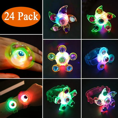 Glow In The Dark Favors (Light Up Rings LED Party Favors for Kids Prizes 24 Pack Glow In The Dark Party Supplies Bulk Hand Spin Stress Relief Anxiety Toys for Classroom Birthday Celebration Valentine)