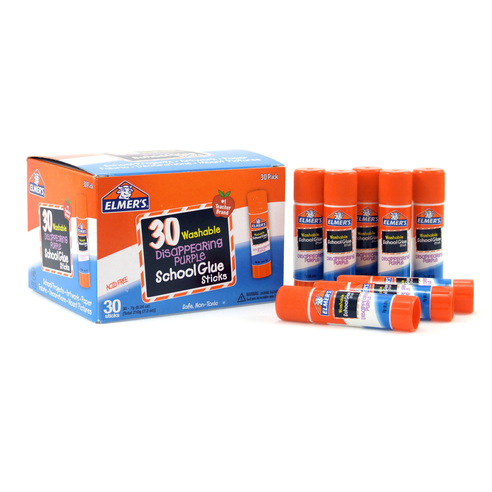 Elmer's® Disappearing Purple Washable School Glue Sticks, 0.24 oz, 30 Count