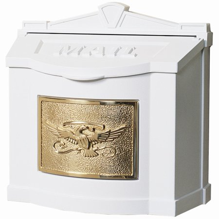 Gaines Mailbox Parts (Gaines Mfg White/Brass Wall Mounted Eagle Mailbox)