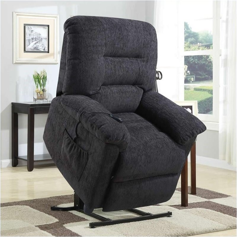 Bowery Hill Power Lift Recliner Chair with Remote Control in Dark Grey