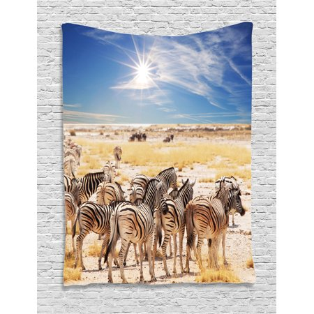 Africa Tapestry, Zebras in Savannah Desert Waterhole on Hot Day Africa Safari Adventure Land Print, Wall Hanging for Bedroom Living Room Dorm Decor, Multicolor, by - Safari Bedroom Decor