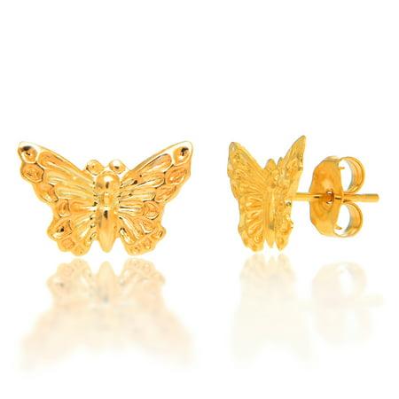 14k Solid Yellow Gold Butterfly Stud Earrings 14k Yellow Gold Butterfly Earrings