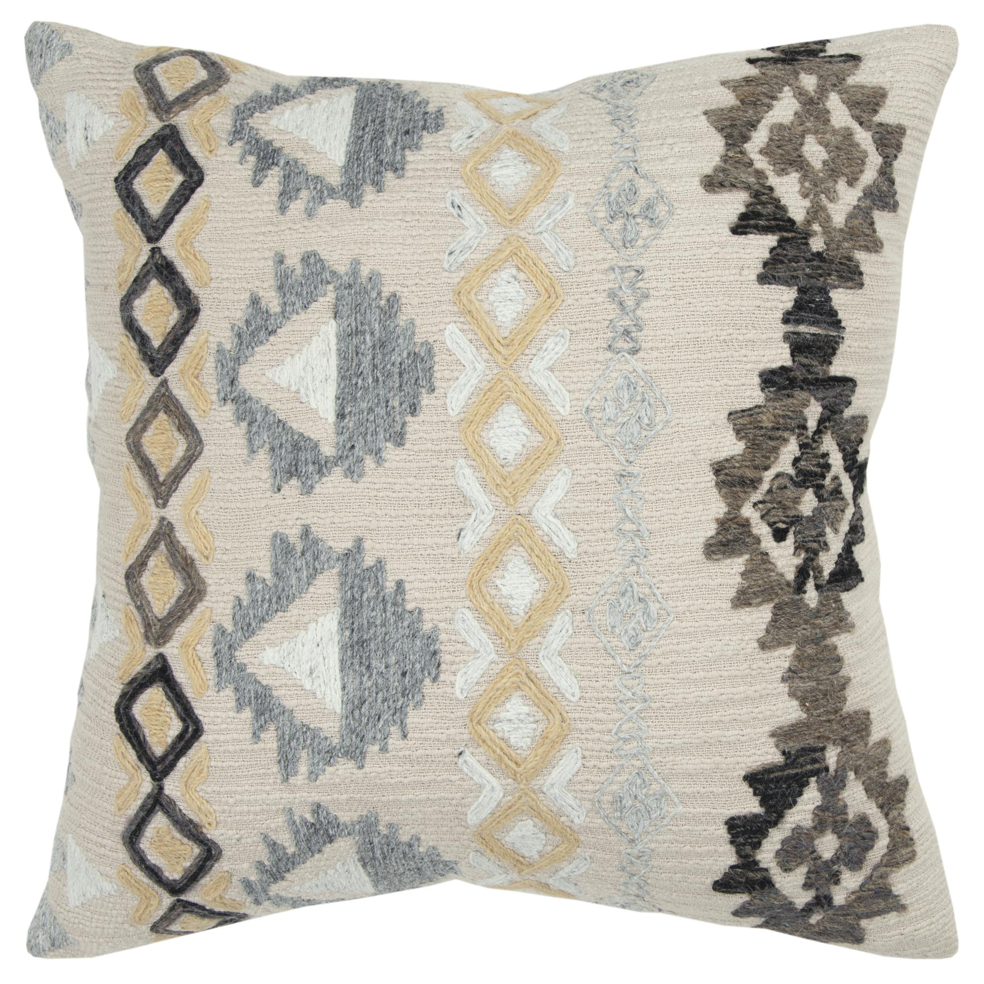 """Rizzy Home Decorative Downfilled Throw Pillow Aztek 20""""X20"""" Natural"""