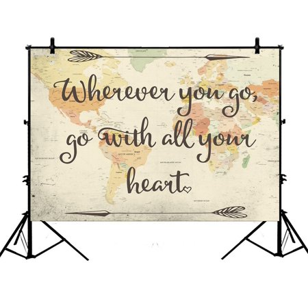 PHFZK 7x5ft Adventure Backdrops, Old Style World Map with Inspirational Quote Photography Backdrops Polyester Photo Background Studio Props - Mlp Background