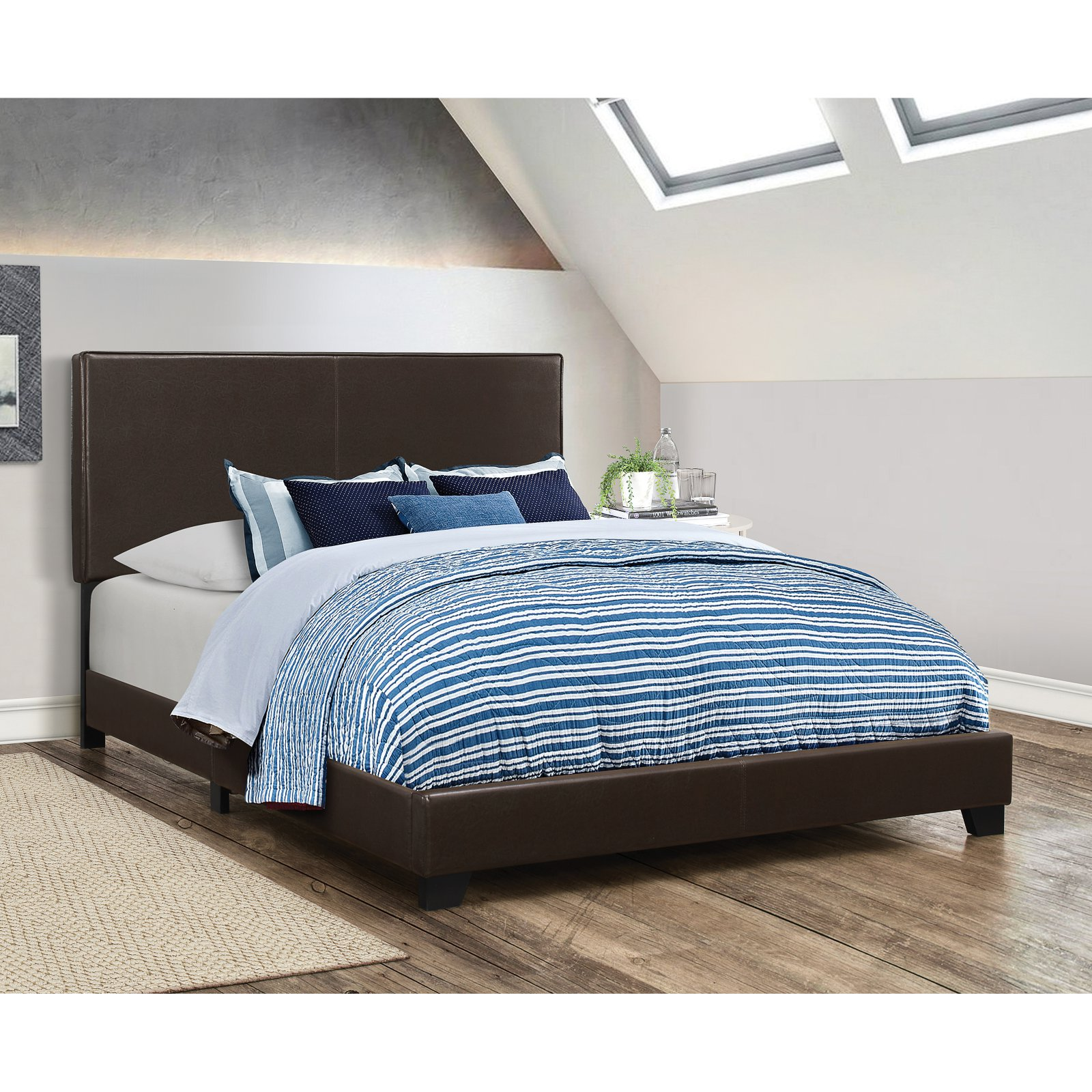 Dorian Upholstered Bed in Brown (Queen)