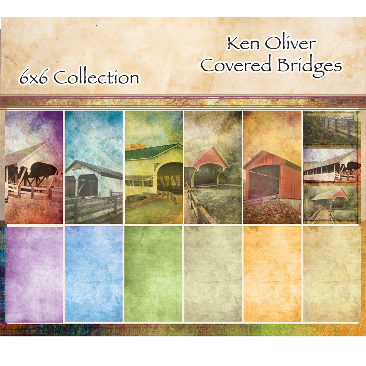 "Ken Oliver Double-Sided Paper Pad 6""X6"" 24/Pkg-Covered Bridges, 6 Designs/4 Each"