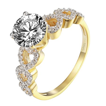 Heart Design Womens Wedding Ring 14k Gold Over 925 Silver Solitaire CZ Bridal Round
