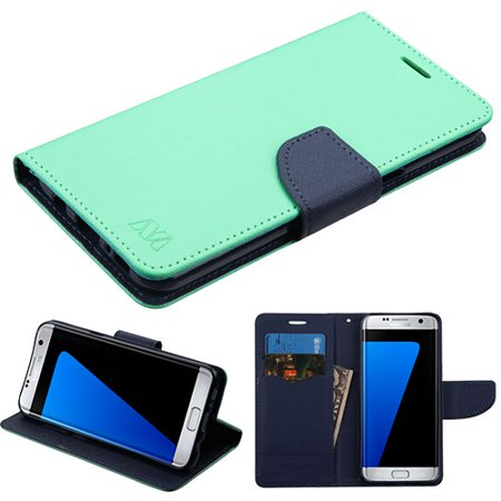 Samsung Galaxy S8 Phone Case Leather Flip Wallet Credit Card   Cash Slots Cover Stand Pouch Folio Fold Book Style Magnetic Buckle   Teal Green Blue