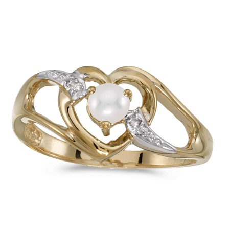 10k Yellow Gold Freshwater Cultured Pearl And Diamond Heart Ring ()