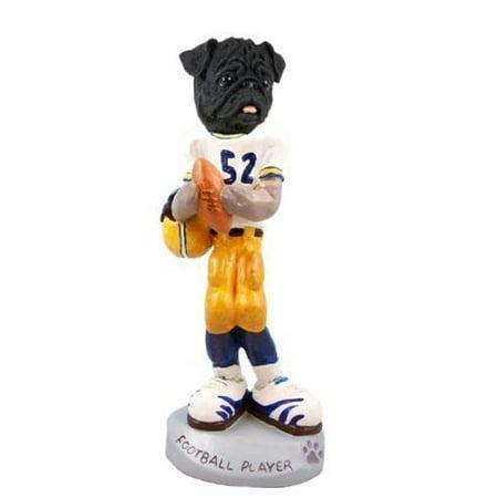 - Pug Black Football Player Doogie Collectable Figurine