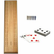 Deluxe Competition Cribbage Set, Solid Wood Sprint 2 Track Board with Brass Pegs, Deck of Cards and Canvas Storage Bag