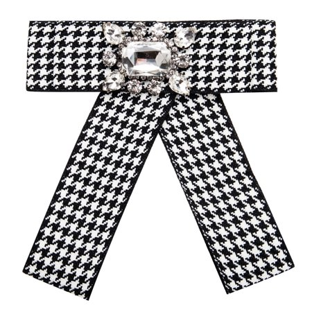 - Women Grid Stripe Bowknot Corsage Brooch Breastpin Multi-layered Alloy Inlaid Rhinestone Valentine's Day Gift