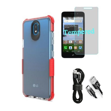 Compatible Case for Straight Talk LG Journey Smartphone / LG Journey /LG Arena 2 / LG K30 (2019) LM-X320 / LG Escape Plus, Clear TPU Case with Shock Edge + Cable (Clear- Red + Tempered