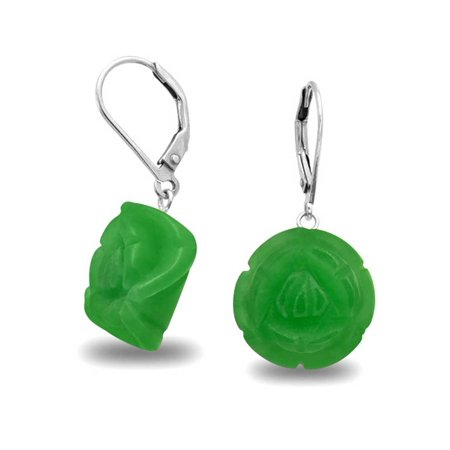 925 Silver Carved Green Rose Simulated Jade Flower Earrings