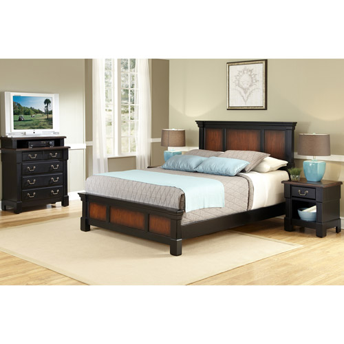 Home Styles The Aspen Collection King Bed, Media Chest and Night Stand, Rustic Cherry/Black
