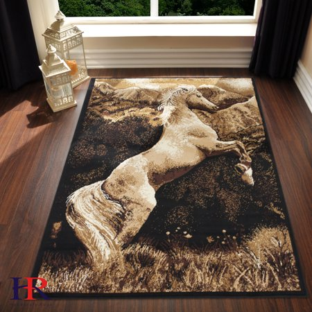 Handcraft Rugs-Animal Print Rugs for cabin and lodge Jumping Horse with Mountain Background (Approximately 4 by -