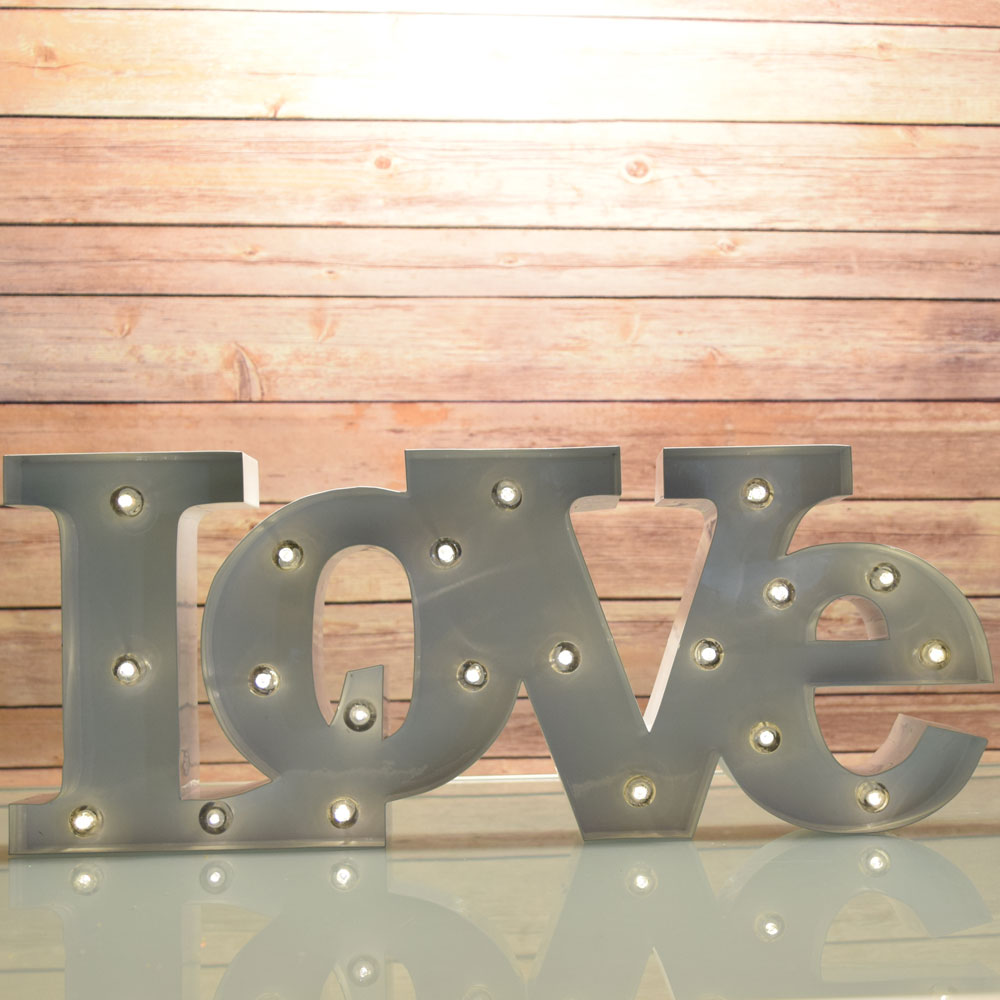 Fantado Marquee Light White Love Word Led Metal Sign Battery Operated By Paperlanternstore Walmart Com Walmart Com