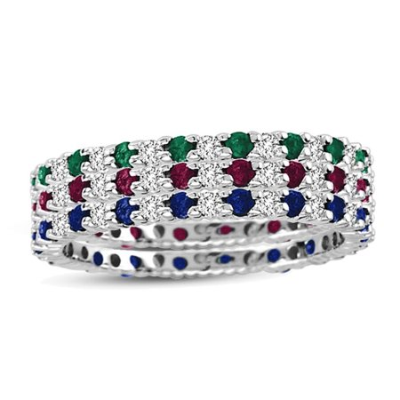 Suzy Levian 14K White Gold Diamond Sapphire Ruby Emerald 3-piece Eternity Band Ring Set