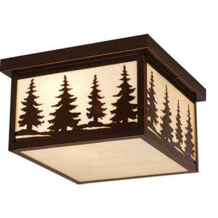 Vaxcel Yosemite Bronze Rustic Tree Square Indoor Outdoor Flush Mount Ceiling Light