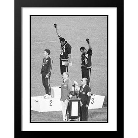 Framed And Double Matted 20X23 Black Power Olympic Medalists  Mexico City