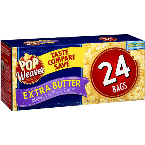 Pop Weaver Extra Butter Microwave Popcorn, 24ct