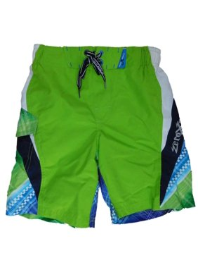 Boys Green Cargo Swim Trunks Board Shorts