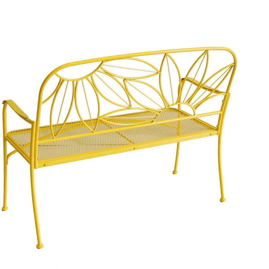 mainstays hello sunny outdoor patio bench yellow walmart com
