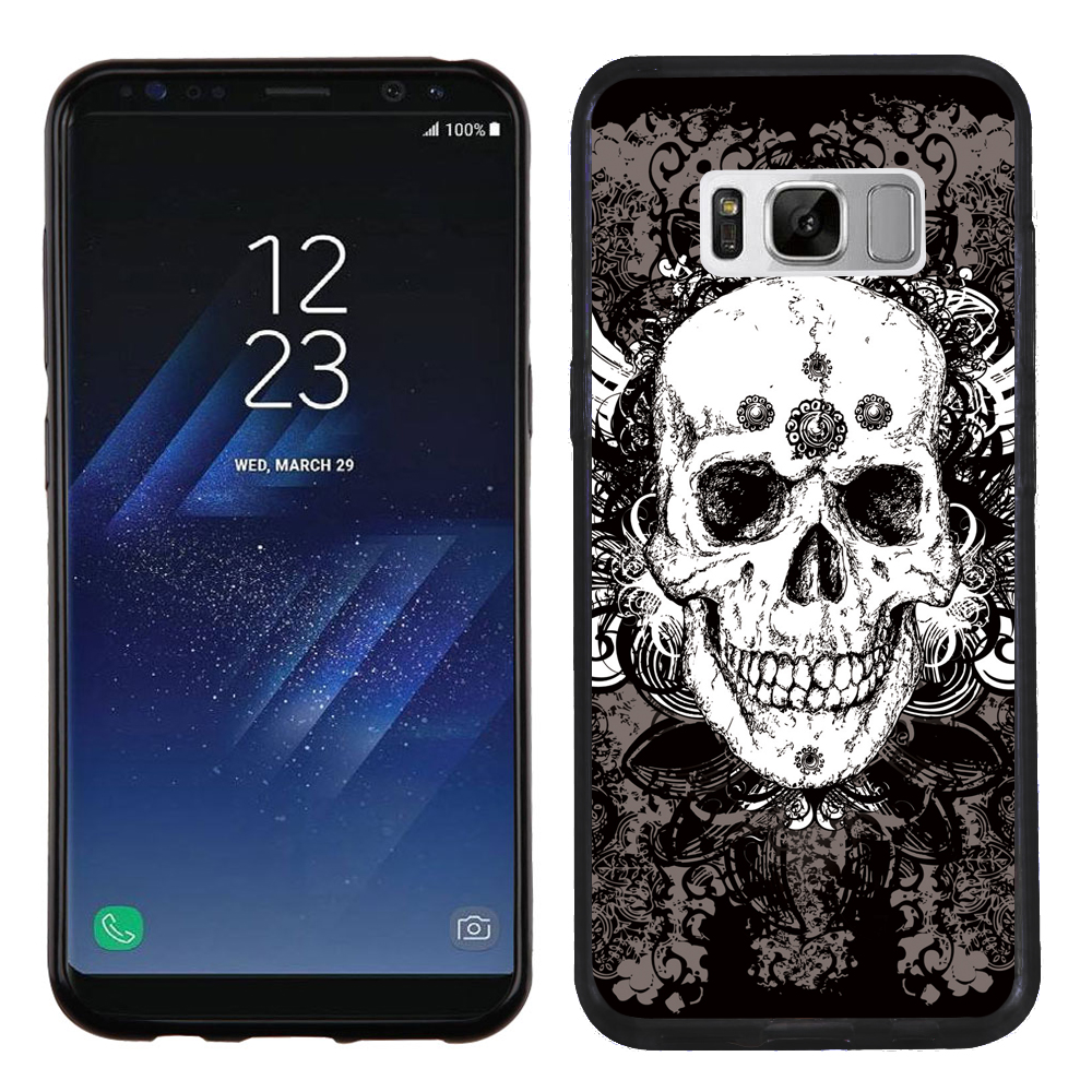 Slim-Fit Samsung Galaxy S8 PLUS / S8+ Phone Case, OneToughShield ® Premium TPU Gel Case (Black Bezel) - Grunge Skull