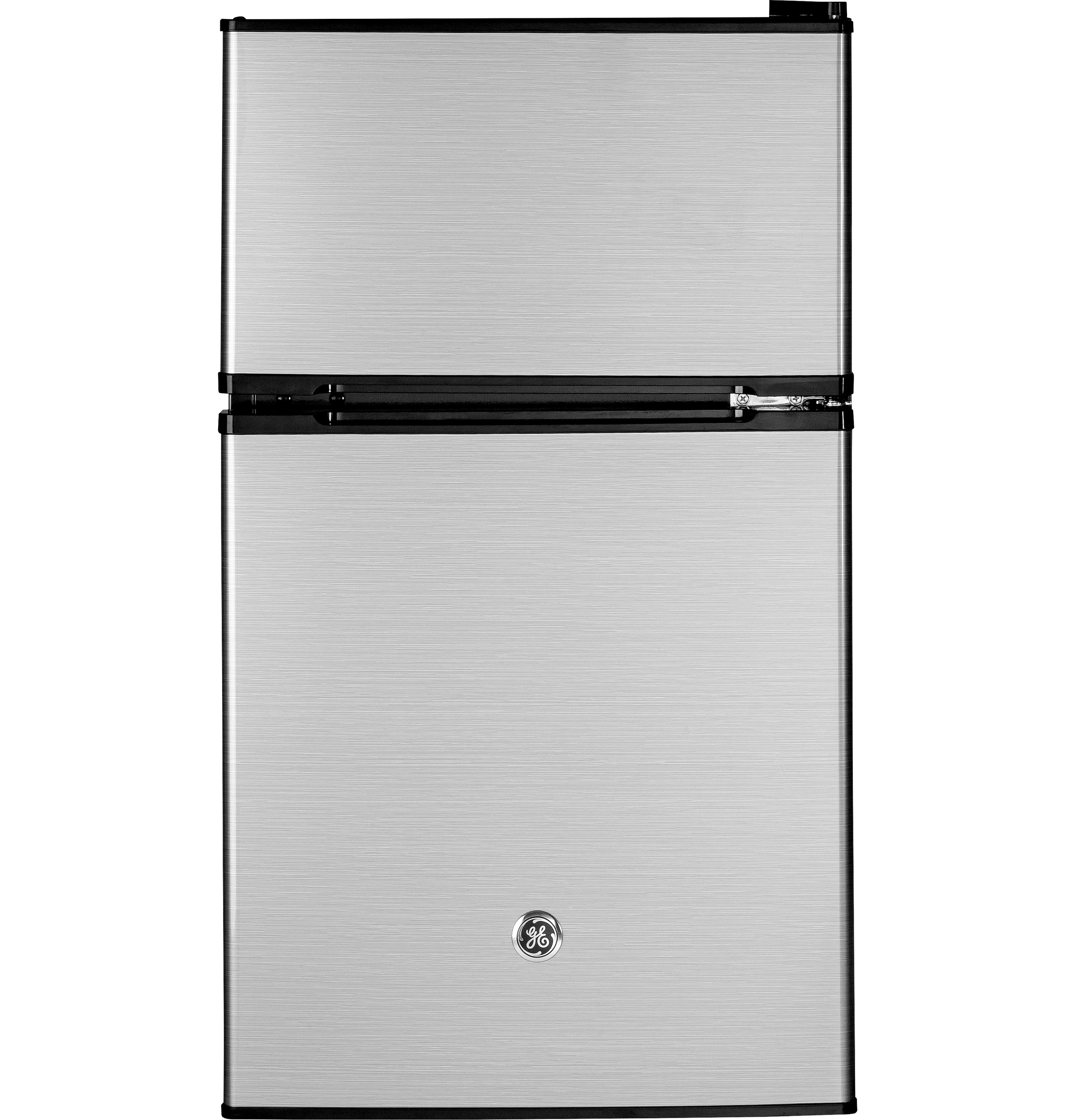 GE 3.1 cu. ft Double-Door Compact Refrigerator, Clean Steel