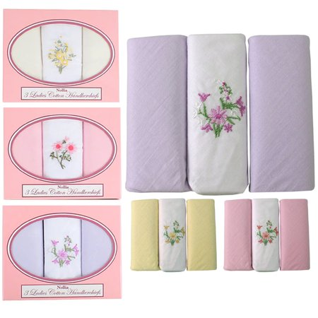 Boxed Fancy 12 Ladies 100% Cotton Floral Embroidered Handkerchiefs Hankie