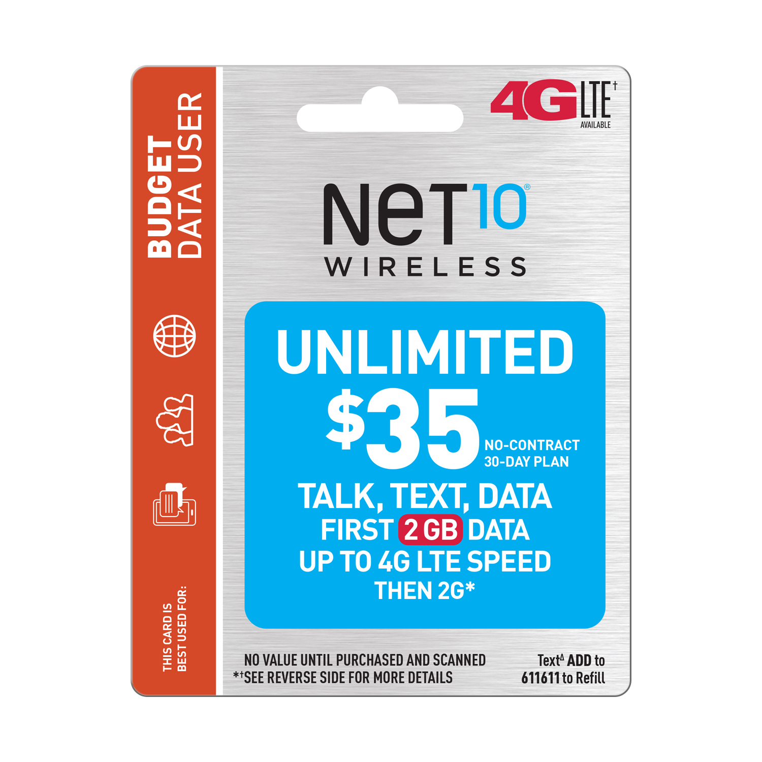 Net10 $35 Unlimited 30 Day Plan (2GB of data at high speed, then 2G*) (Email Delivery)