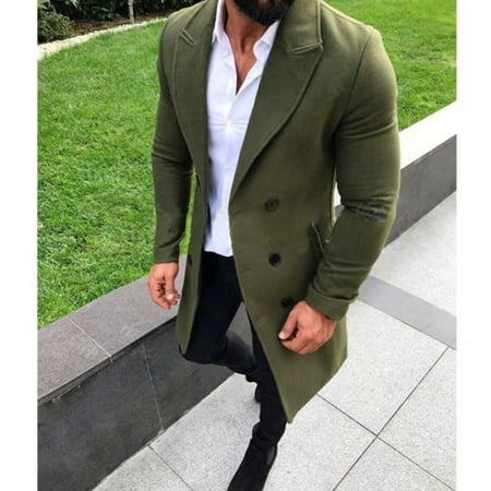New Men Wool Coat Winter Trench lapel Outwear Warm Overcoat Long Jacket Peacoat (Winter Coat For Men On Sale)