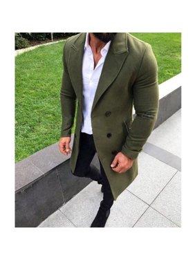 New Men Wool Coat Winter Trench lapel Outwear Warm Overcoat Long Jacket Peacoat