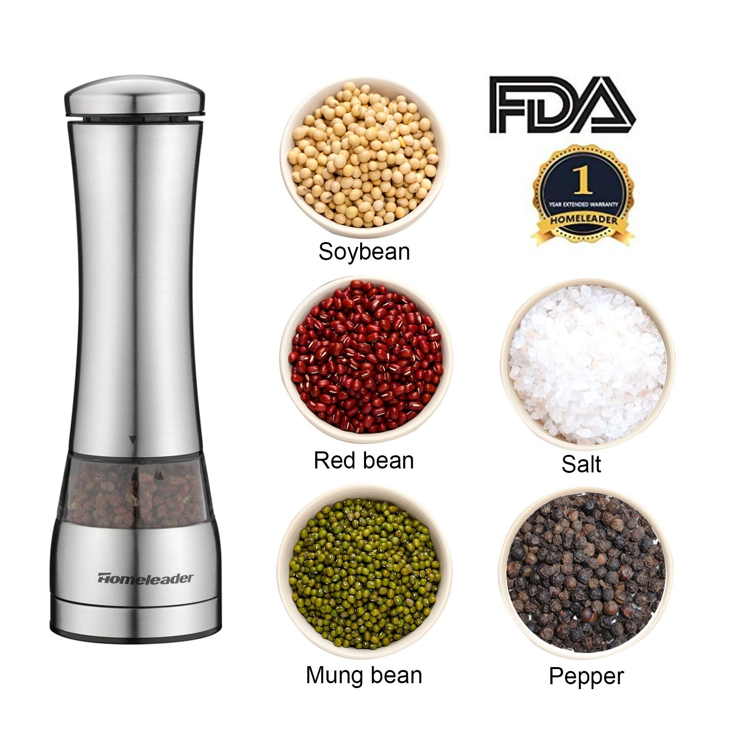 Electric Pepper Grinder or Salt Mill, Stainless Steel Salt and Pepper Grinder with Adjustable Coarseness Ceramic Mechanism, Battery Powered Electric Spice Grinder with LED Light