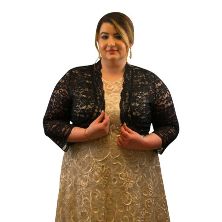 - SleekTrends Plus Size Women Elbow Sleeve Sequin Lace Bolero Jacket - Dressy Shrug