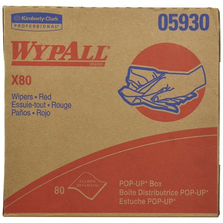 Wypall X80 Reusable Wipes (05930), Extended Use Wipers Pop-Up Box Format, Red, 80 Sheets / Box, Red WypAll X80 Extended Use Wipers; 80 sheets / box; (each sheet is.., By KimberlyClark