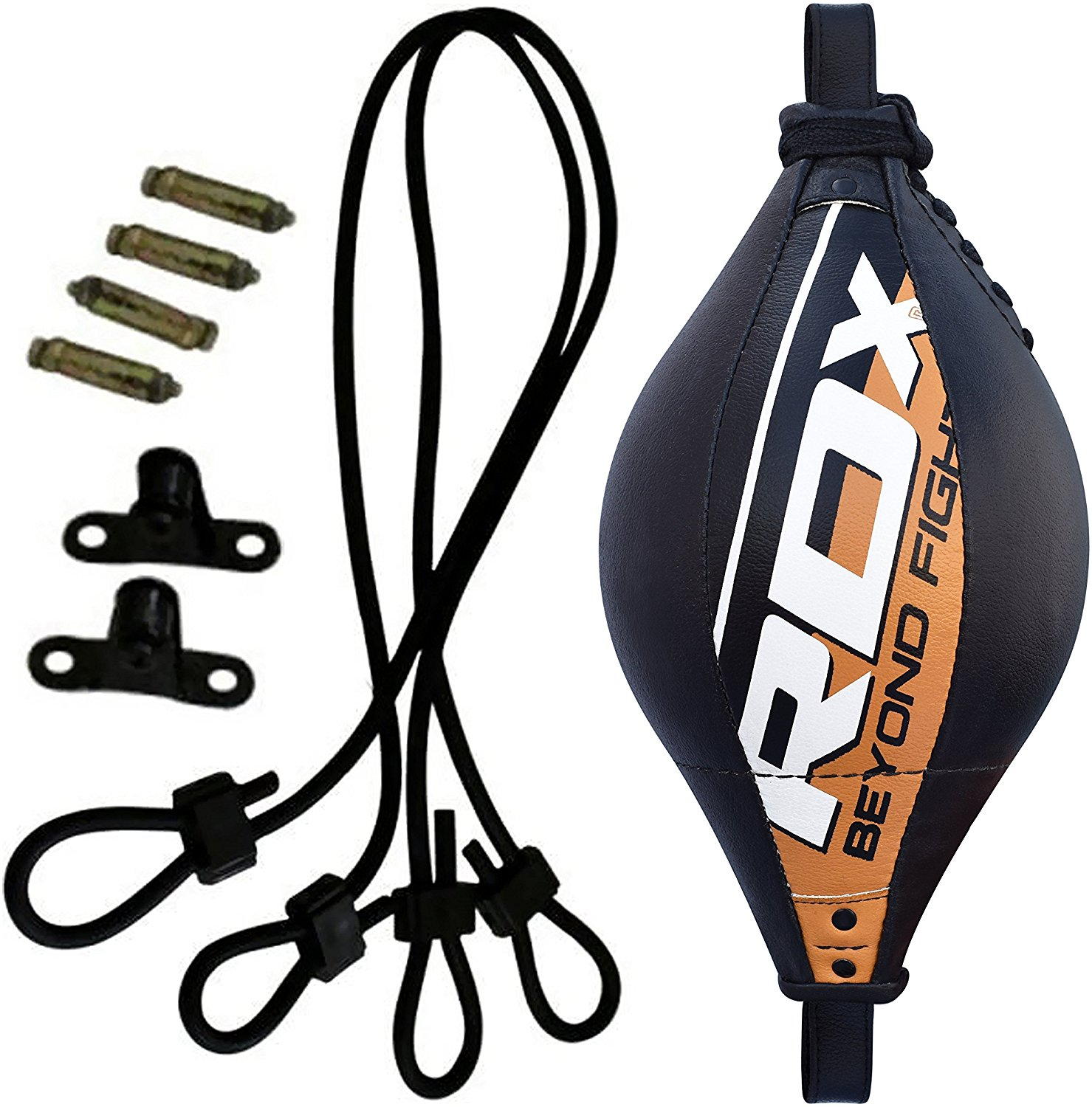 RDX Maya Hide Leather Boxing B Ball Speed Double End Dodge Bag MMA Punching Training Workout Floor to Ceiling Rope