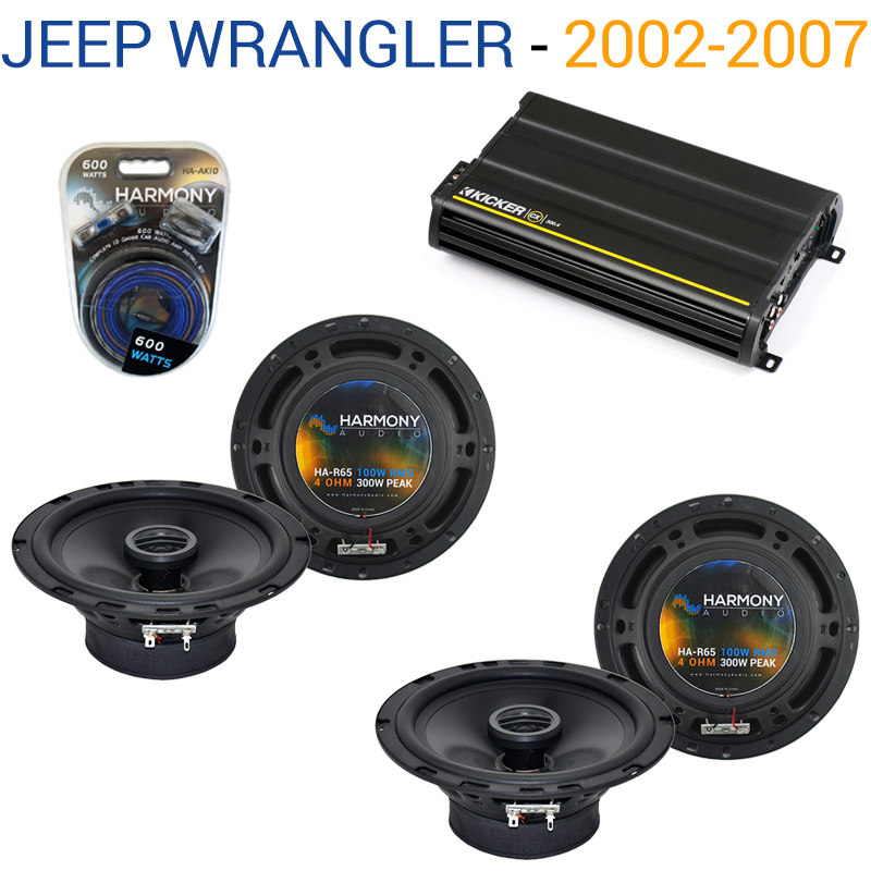 Jeep Wrangler 2007-2017 OEM Speaker Replacement Harmony (2) R65 & CX300.4 Amp - Factory Certified Refurbished